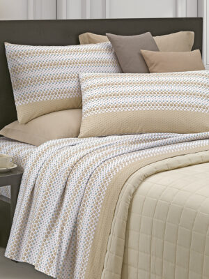 completo lenzuola colore beige tessuto in cotone marca angel's collection