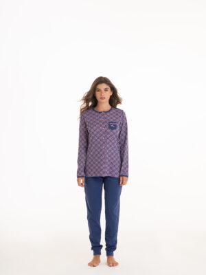 pigiama donna lungo in caldo cotone interlock maglia con collo serafino collezione autunno inverno marca Angel's Collection
