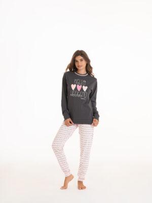 pigiama donna in caldo cotone interlock colore rosa e grigio marca Angel's Collection