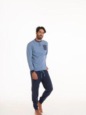 pigiama uomo in caldo cotone colore azzurro e blu marca Angel's Collection
